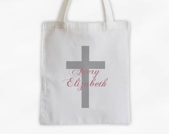 Cross with Name Cotton Canvas Personalized Tote Bag - Monogram Custom Gift in Rose Pink and Gray  (3046)