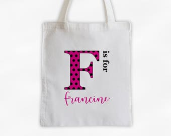 Polka Dot Initial Cotton Canvas Personalized Tote Bag - Letter is for Name Monogram Custom Gift in Hot Pink and Black (3039)
