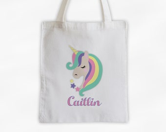 Unicorn with Rainbow Hair Personalized Canvas Tote Bag - Pastel Custom Travel Overnight Bag - Girls Reusable Tote Bag