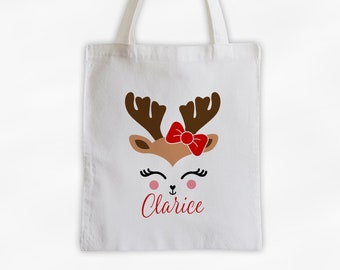 Reindeer With Red Bow Personalized Canvas Tote Bag - Cute Christmas Animal Custom Holiday Travel Overnight Bag - Reusable Tote