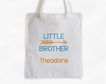 Little Brother Arrow Cotton Canvas Personalized Tote Bag for Siblings - Custom Gift in Turquoise and Orange