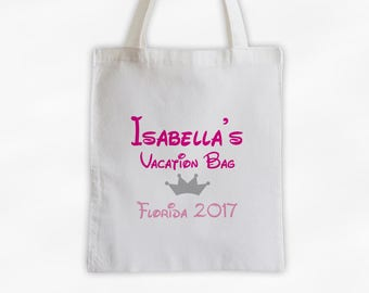 Vacation Bag with Crown Canvas Tote Bag - Custom Travel Bag for Family Vacation, Personalized Hot Pink and Gray Girls Reusable Tote (3002)