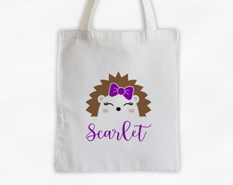 Hedgehog with Bow Personalized Canvas Tote Bag - Cute Animal Custom Travel Overnight Bag - Reusable Tote with Hedge Hog Face