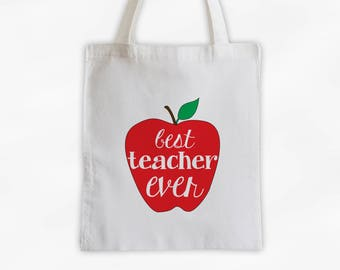 Best Teacher Ever Tote Bag with Apple on Cotton Canvas - Gift for Teacher, Professor, Educators, Daycare Provider (3029)
