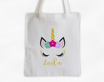 Unicorn with Flowers Personalized Canvas Tote Bag - Cute Animal Custom Travel Overnight Bag - Reusable Tote with Unicorn Face