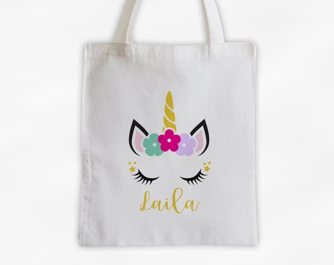 Featured listing image: Unicorn with Flowers Personalized Canvas Tote Bag - Cute Animal Custom Travel Overnight Bag - Reusable Tote with Unicorn Face