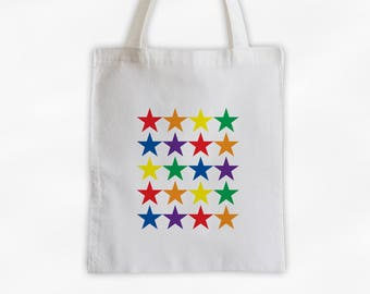Rainbow Star Pattern Canvas Tote Bag - Reusable Market Tote, Beach Bag, Sports Bag, Travel Tote (3021)