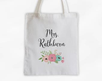 Mrs Antique Flowers Cotton Canvas Personalized Tote Bag - Custom Gift for Bride to Be, Teacher - Rose Peach and Aqua (3003)