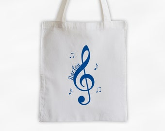Treble Clef and Music Notes Cotton Canvas Personalized Tote Bag in Royal Blue - Custom White Tote Bag for Music Lovers, Band Members