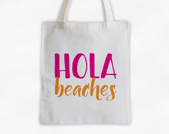 Hola Beaches Cotton Canvas Tote Bag - Beach Vacation Travel Bag in Hot Pink and Orange (3015)