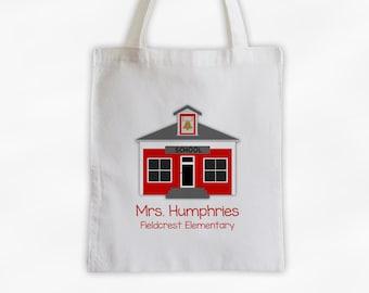 School House Teachers Tote Bag - Cotton Canvas Personalized Gift for Teacher, Professor, Educators, School Employees