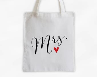 Mrs Heart Cotton Canvas Tote Bag - Just Married Custom Wedding Bride to Be Gift, Wedding Day Kit Bag, Honeymoon Tote (3013)