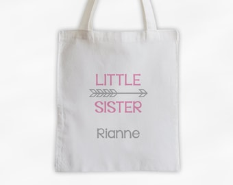 Little Sister Arrow Cotton Canvas Personalized Tote Bag - Custom Birth Order Siblings Gift in Pink and Gray