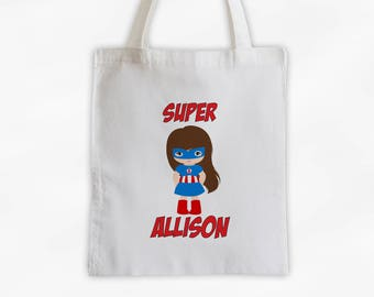 Superhero Girls Canvas Tote Bag - Super America Kid Personalized Comic Book Travel Overnight Bag in Red and Blue - Reusable Tote (3040)