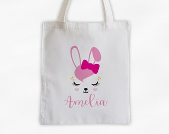 Bunny with Bow Personalized Canvas Tote Bag - Cute Animal Custom Travel Overnight Bag - Reusable Tote with Rabbit