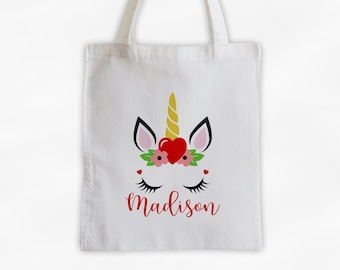 Unicorn with Heart and Flowers Personalized Canvas Tote Bag - Cute Animal Custom Travel Overnight Bag - Reusable Tote with Unicorn Face