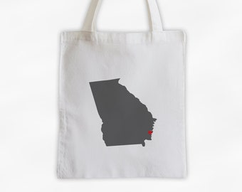 State Silhouette Canvas Tote Bag with Heart Over Home Town - Georgia Bag in Dark Gray on a Reusable Tote - Choose Any State (3025)