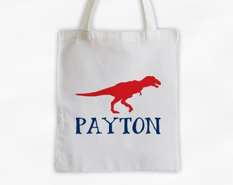 Personalized Dinosaur Canvas Tote Bag - Tyrannosaurus Rex Custom Travel Overnight Bag for Boys or Girls - T-Rex Reusable Tote in Red & Blue