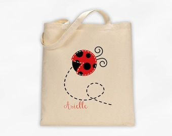 Personalized Ladybug Canvas Tote Bag - Custom Travel Overnight Book Bag for Girls in Red - Reusable Natural Cotton Tote (3027)