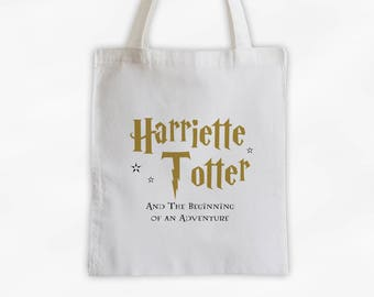 Book Lovers Wizarding Tote Bag - Adventure Begins Cotton Canvas Custom Magical Book Title Book Bag - Lightning Bolt Font in Gold (3012)