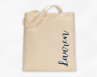 Personalized Cotton Canvas Tote Bag with First Name in Script Along the Side in Navy Blue - Custom Gift Reusable Shopping Bag  (3035)