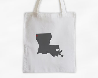 State Silhouette Canvas Tote Bag with Heart Over Home Town - Louisiana Bag in Dark Gray on a Reusable Tote - Choose Any State (3025)