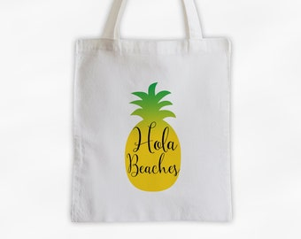 Hola Beaches Pineapple Cotton Canvas Tote Bag - Beach Vacation Travel Bag in Golden Yellow and Green