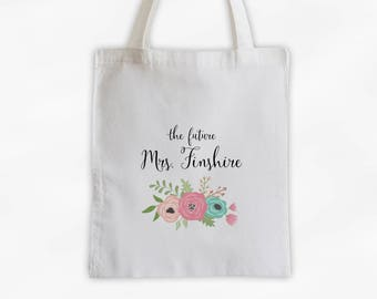 The Future Mrs Antique Flowers Cotton Canvas Personalized Tote Bag - Custom Engagement Gift for Bride to Be - Rose Peach and Aqua (3003)