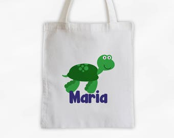 Personalized Sea Turtle Canvas Tote Bag - Sea Animal Custom Travel Overnight Bag for Boys or Girls - Ocean Reusable Tote (3045)