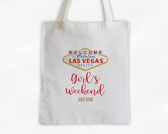 Las Vegas Girl's Weekend Cotton Canvas Tote Bag - Personalized Annual Trip to Vegas Travel Bag in Gold and Red (3034)