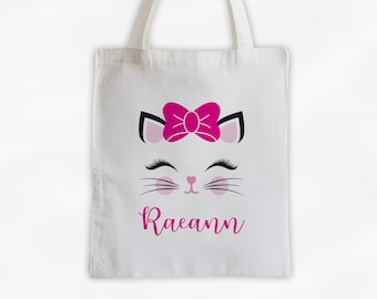 Kitty with Bow Personalized Canvas Tote Bag - Cute Animal Custom Travel Overnight Bag - Reusable Tote with Cat Face