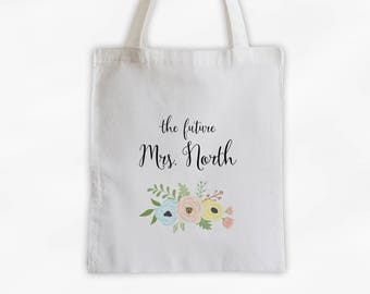 The Future Mrs Antique Flowers Cotton Canvas Personalized Tote Bag - Custom Engagement Gift for Bride to Be - Yellow Peach and Aqua (3003)
