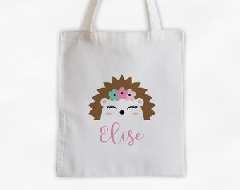 Hedgehog with Flowers Personalized Canvas Tote Bag - Cute Animal Custom Travel Overnight Bag - Reusable Tote with Hedge Hog Face