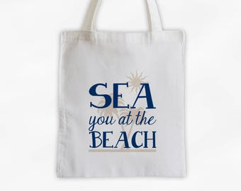 Sea You At The Beach Cotton Canvas Tote Bag with Palm Trees - Beach Vacation Travel Bag in Navy Blue and Cream (3017)