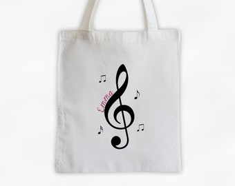 Treble Clef and Music Notes Cotton Canvas Personalized Tote Bag - Black and Hot Pink on White Tote Bag for Music Lovers, Band Members