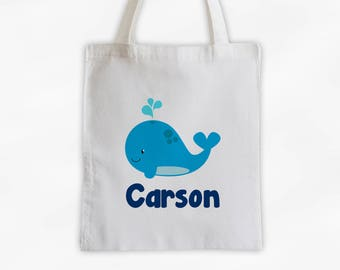 Personalized Whale Canvas Tote Bag - Sea Animal Custom Travel Overnight Bag for Boys or Girls - Ocean Reusable Tote (3045)