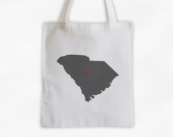 State Silhouette Canvas Tote Bag with Heart Over Home Town - South Carolina Bag in Dark Gray on a Reusable Tote - Choose Any State (3025)