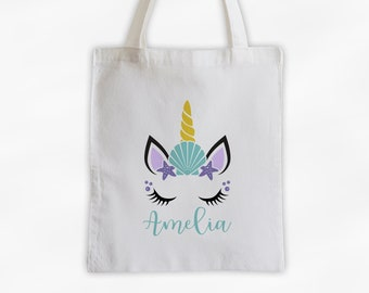Summer Unicorn with Shell Personalized Canvas Tote Bag - Cute Animal Custom Travel Beach Bag - Reusable Tote with Unicorn Face