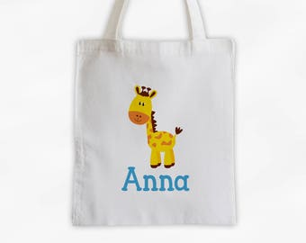 Personalized Giraffe Canvas Tote Bag - Custom Travel Overnight Bag for Kids in Aqua Blue - Reusable Tote (3004)