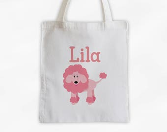 Poodle Dog Personalized Cotton Canvas Tote Bag - Custom Puppy Tote, Kids Bag in Pink  (3010)