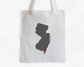 State Silhouette Canvas Tote Bag with Heart Over Home Town - New Jersey Bag in Dark Gray on a Reusable Tote - Choose Any State (3025)