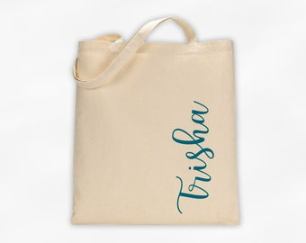 Personalized Cotton Canvas Tote Bag with First Name in Script Along the Side in Teal - Custom Gift Reusable Shopping Bag  (3035)
