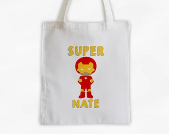 Superhero Canvas Tote Bag - Armored Super Kid Personalized Comic Book Travel Overnight Bag for Boys in Red and Yellow - Reusable Tote (3038)
