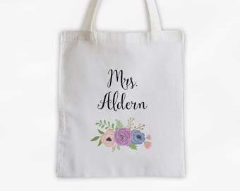 Mrs Antique Flowers Cotton Canvas Personalized Tote Bag - Custom Gift for Bride to Be, Teacher - Purple Peach and Periwinkle (3003)