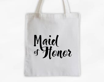 Maid of Honor Cotton Canvas Tote Bag - Custom Wedding Party Gift, Wedding Day Kit Bag, Bridal Party Honor Attendant Tote (3001)