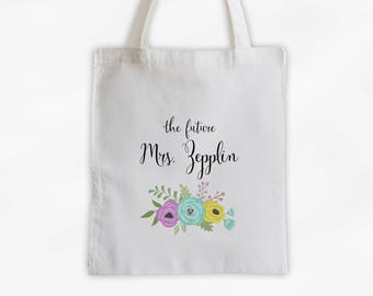 The Future Mrs Antique Flowers Cotton Canvas Personalized Tote Bag - Custom Engagement Gift for Bride to Be - Aqua, Purple, Yellow (3003)