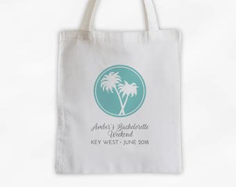 Bachelorette Party Cotton Canvas Tote Bag with Palm Trees - Personalized Girls Weekend Beach Travel Bag in Light Teal and Gray (3018)
