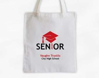 Senior Class of 2019 Personalized Canvas Tote Bag with Graduation Cap in Red - Custom Travel, Overnight, Sports, Book Bag - Reusable Tote