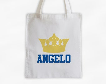 Prince Crown and Name Cotton Canvas Personalized Tote Bag - King's Custom Gift in Light Gold and Blue