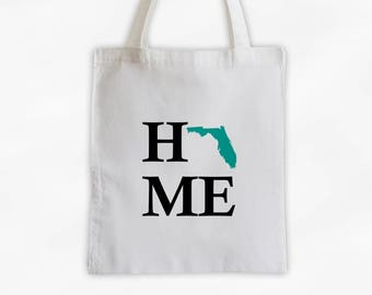 Home State Canvas Tote Bag - Welcome Home to Florida Bag in Black and Teal Reusable Tote - Choose Any State (3024)